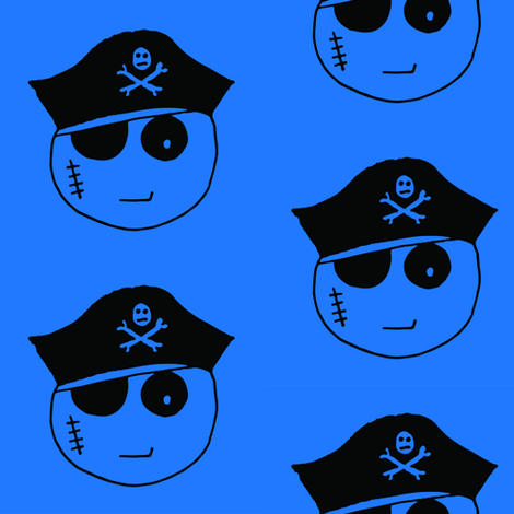 Pirate Kawaii Emoji Blue fabric by pennyroyal on Spoonflower - custom fabric