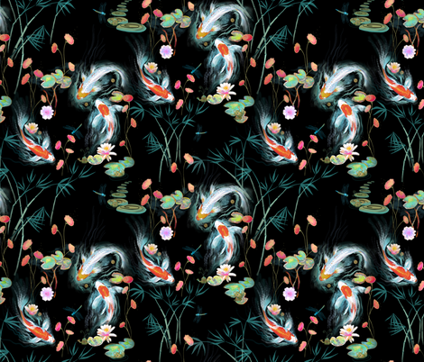 japanese water garden - black fabric by designed_by_debby on Spoonflower - custom fabric