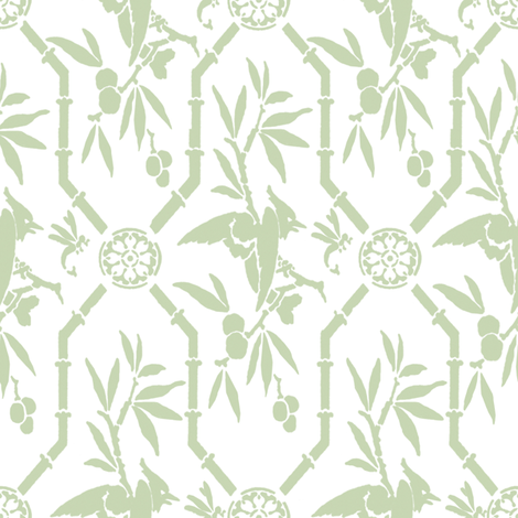 Bird Pavilion Chinoiserie in basil fabric by lilyoake on Spoonflower - custom fabric