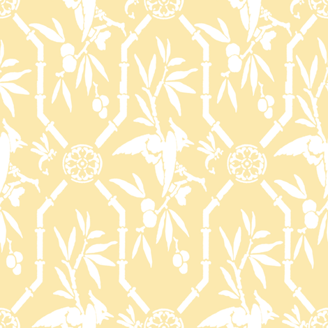 Bird Pavilion Chinoiserie in buttercup reversed fabric by lilyoake on Spoonflower - custom fabric