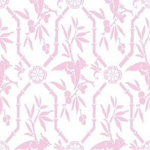 Bird Pavilion Chinoiserie in sorbet pink