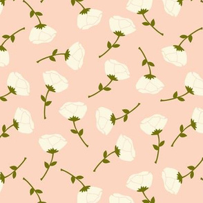 Scattered little roses cream