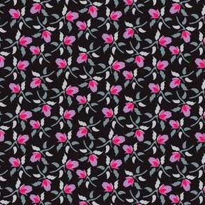 Floral Ditsy Black Pink Purple Gray grey  _Miss Chiff Designs