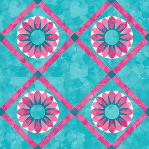 Cheater Quilt Sunflower Pattern Aqua Pink