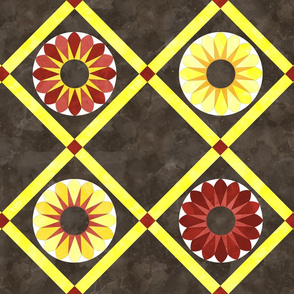 Cheater Quilt Sunflower Pattern Brown Yellow Orange