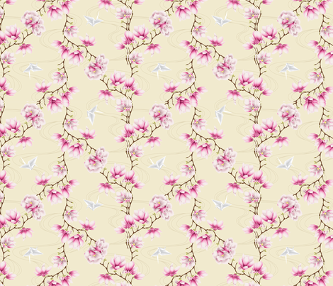 Japanese magnolias-pink fabric by ibee_eneich on Spoonflower - custom fabric