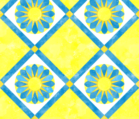 Cheater Quilt Sunflower Pattern Yellow Blue White fabric by wickedrefined on Spoonflower - custom fabric