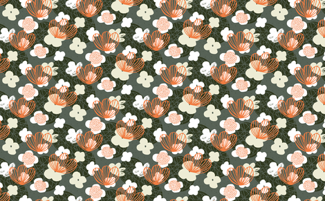 Kokedama Garden - Grey by Friztin fabric by friztin on Spoonflower - custom fabric