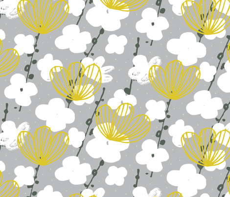 Japanese Garden in Grey by Friztin fabric by friztin on Spoonflower - custom fabric