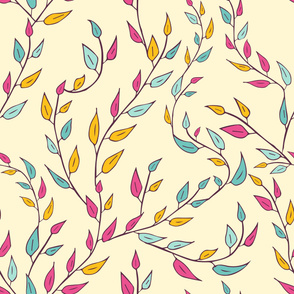 Floral pattern. Leaves, berries, branches.