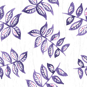 Floral watercolor pattern. Branch with leaves.