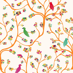 Hand-drawn pattern. Birds on the branches. Cute design.