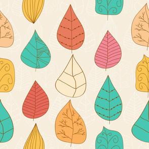 Cute multicolor hand drawn leaves.