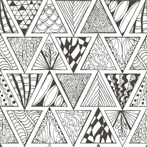 Abstract pattern. Zentagl. Triangles. Doodle.