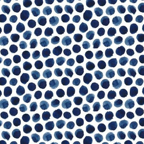 Watercolor Polka Dot in Indigo Small