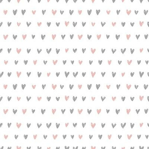 Doodle Hearts in Grey and Blush