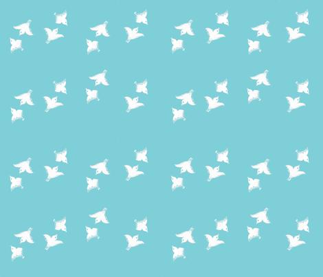 Japanese_garden__little_birds_on_blue fabric by amanda_jane_textiles on Spoonflower - custom fabric