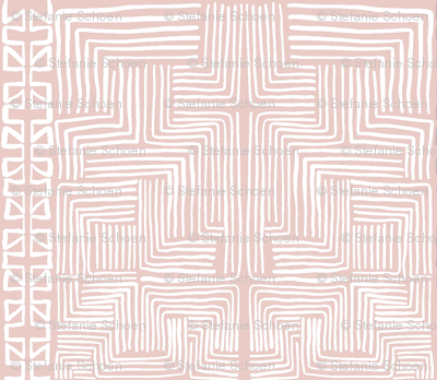 White on Blush Pink African Mudcloth inspired shapes