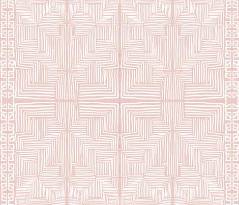 White on Blush Pink African Mudcloth inspired shapes fabric by thestylesafari on Spoonflower - custom fabric