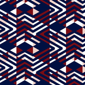Navy Red Pink abstract tribal triangles