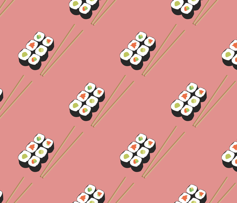 Sushi with Chopsticks fabric by ilovecotton on Spoonflower - custom fabric
