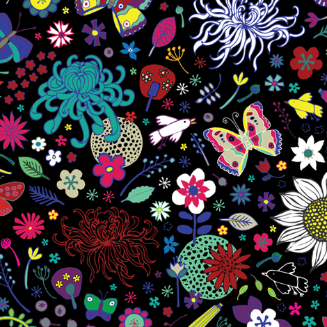 Japanese garden - on black - Medium-Small fabric by cecca on Spoonflower - custom fabric