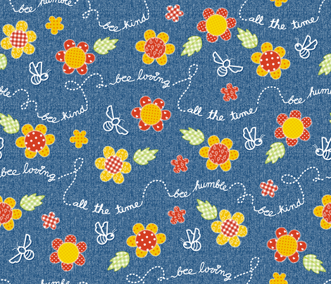 Bee message_Spring Flowers fabric by mia_valdez on Spoonflower - custom fabric