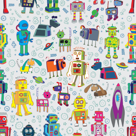 Robots in Space - on grey - medium - small fabric by cecca on Spoonflower - custom fabric