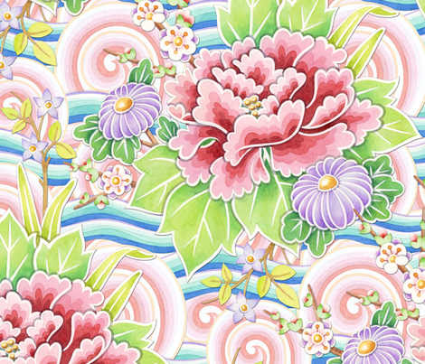 Pink Blue Kimono Bouquet fabric by patriciasheadesigns on Spoonflower - custom fabric