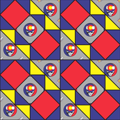 9x9 quilt square Grateful Dead pattern 6 design 1 BASIC