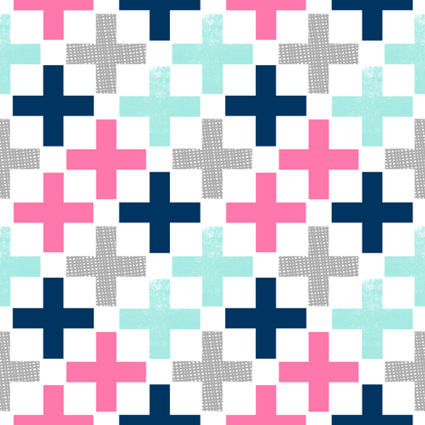 plus swiss cross pink mint grey navy girls baby nursery swiss crosses geo geometric fabric by charlottewinter on Spoonflower - custom fabric
