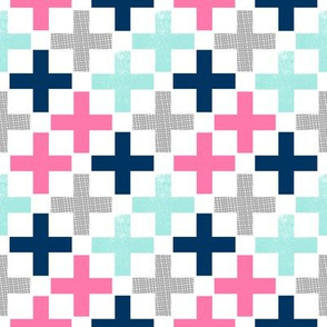 plus swiss cross pink mint grey navy girls baby nursery swiss crosses geo geometric