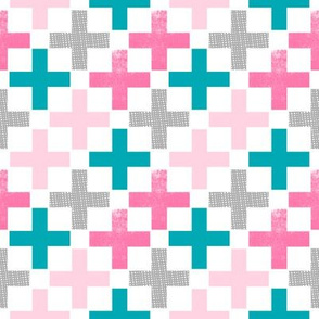 swiss cross girls pink turquoise aqua plus pluses pink grey