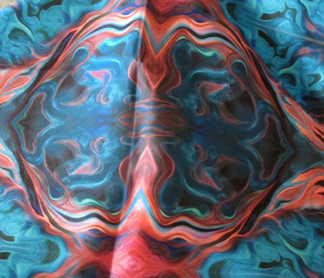Marbleized Oil in Blue and Glowing Red