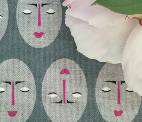 Kabuki Masks Gray Pink_Miss Chiff Designs
