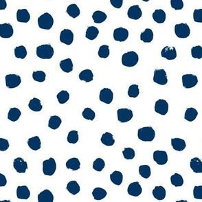 navy dots fabric painted dot spots painterly abstract nursery baby navy blue