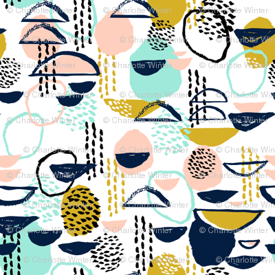 abstract mustard blush mint painterly mark making abstract expression