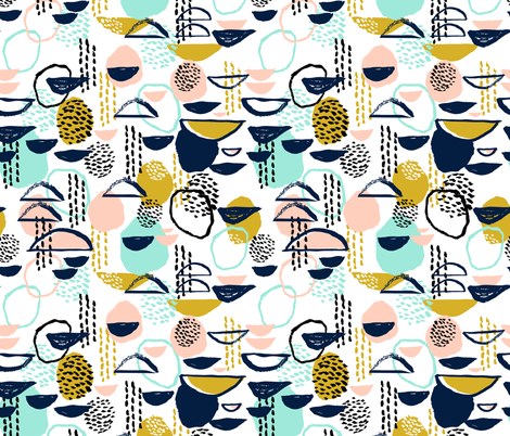 abstract mustard blush mint painterly mark making abstract expression fabric by charlottewinter on Spoonflower - custom fabric