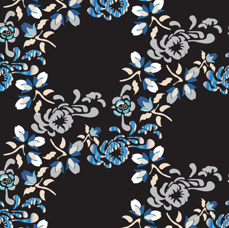 Japanese Garden Black_Miss Chiff Designs fabric by misschiffdesigns on Spoonflower - custom fabric