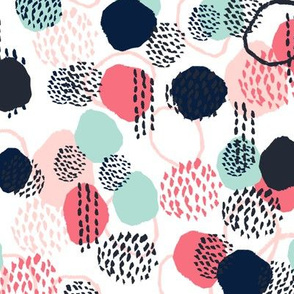 abstract expression dots blush coral mint navy painted painterly kids
