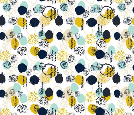 abstract expression mustard  mint navy khaki dots painted painterly abstract baby nursery fabric by charlottewinter on Spoonflower - custom fabric