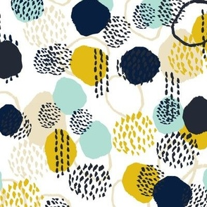 abstract expression mustard  mint navy khaki dots painted painterly abstract baby nursery