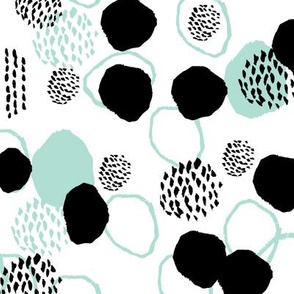abstract dots painted mint and black kids abstract painterly monochrome minimalist