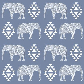 elephant nursery grey blue aztec geo geometric sweet baby girl