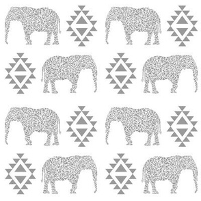 elephant grey aztec geo geometric kids nursery baby grey light grey