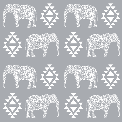 elephant grey aztec geo geometric  kids nursery baby fabric by charlottewinter on Spoonflower - custom fabric