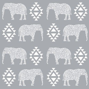 elephant grey aztec geo geometric  kids nursery baby