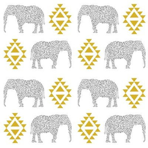 elephant grey and yellow mustard nursery baby gender neutral crib sheet bedding