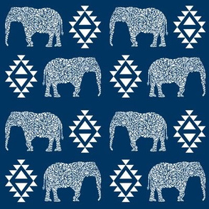 elephant nursery navy blue aztec geo geometric sweet baby girl
