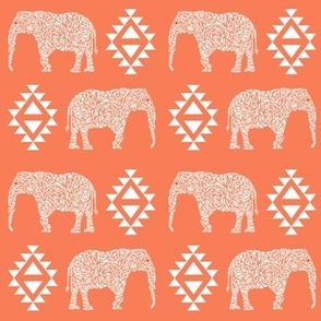 elephant nursery orange aztec geo geometric sweet baby girl